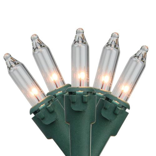 50-Count Clear Mini Christmas Light Set, 22.75ft Green Wire - IMAGE 1