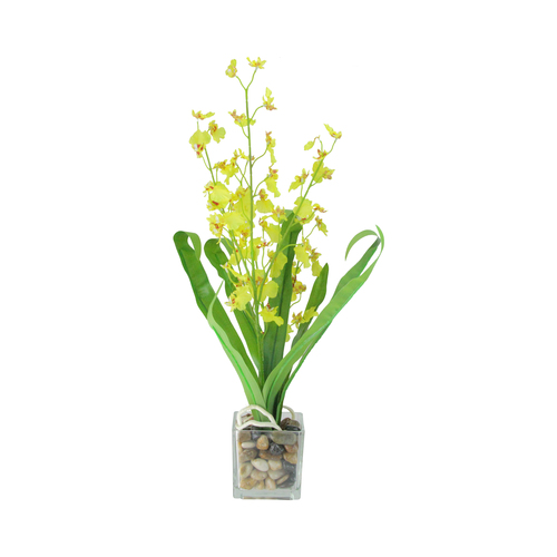 "23.5"" Green and Yellow Potted Artificial Orchid Flower Plant - IMAGE 1"