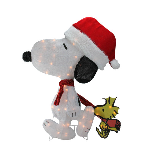 "32"" Pre-Lit White and Red Peanuts Snoopy 2D Christmas Outdoor Decor - IMAGE 1"