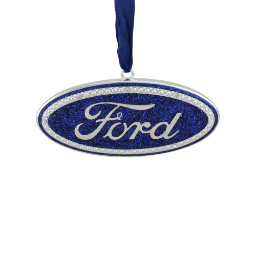 """4"""" Officially Licensed Blue """"Ford"""" Logo Silver Plated Christmas Tree Ornament - IMAGE 1"""