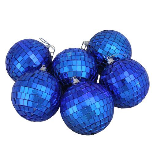 "6ct Lavish Blue Mirrored Glass Disco Ball Christmas Ornaments 3.25"" (80mm) - IMAGE 1"