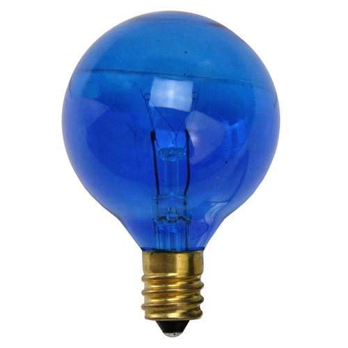 Pack of 25 Incandescent Blue G40 Globe Christmas Replacement Light Bulbs - 7 Watts - IMAGE 1