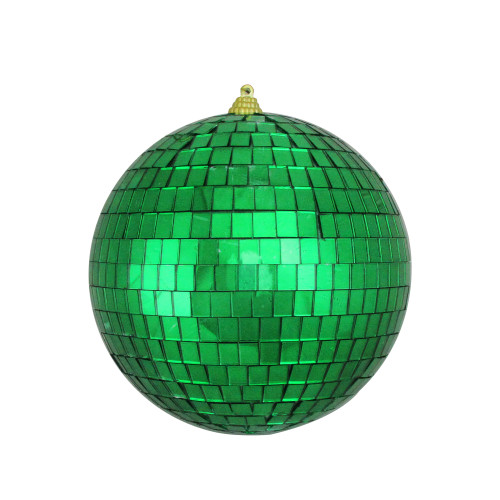 "Green Mirrored Glass Disco Ball Christmas Ornament 6"" (150mm) - IMAGE 1"