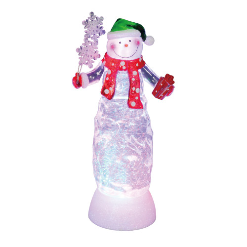 """11"""" Swirling Glitter LED Lighted Snowman with Gift Christmas Decoration - IMAGE 1"""