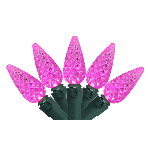 70 Pink LED Faceted C6 Christmas Lights - 23 ft Green Wire - IMAGE 1