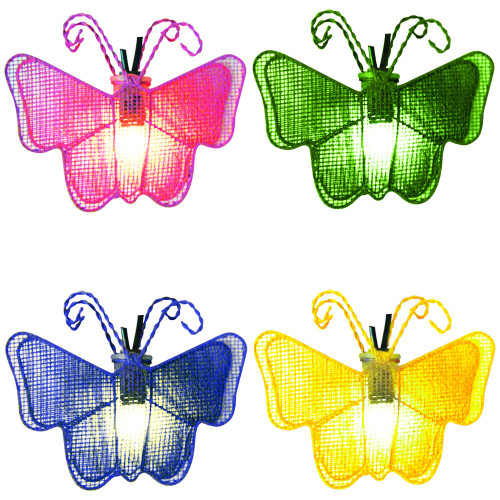 Set of 10 Pink, Green, Blue and Yellow Butterfly Novelty Christmas Lights 11ft White Wire - IMAGE 1