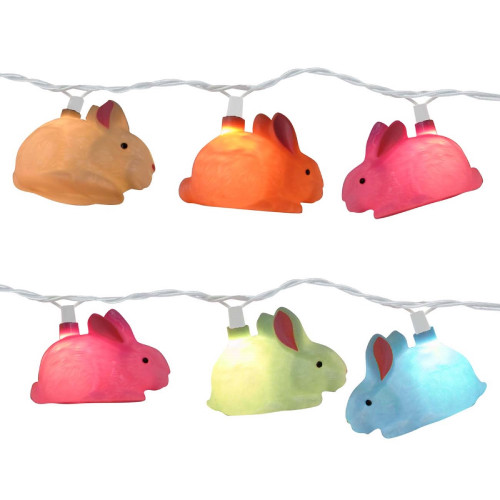 Set of 10 Pink, Yellow and White Easter Bunny Rabbit Novelty Christmas Lights - 11 ft White Wire - IMAGE 1