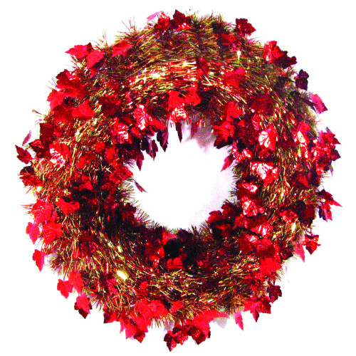 "20"" Festive Thanksgiving Fall Harvest Red and Gold Leaf Artificial Tinsel Wreath - Unlit - IMAGE 1"