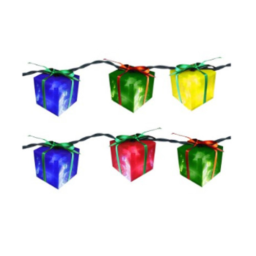 Set of 10 Brightly Colored Gift Box Novelty Christmas Lights 11 ft White Wire - IMAGE 1