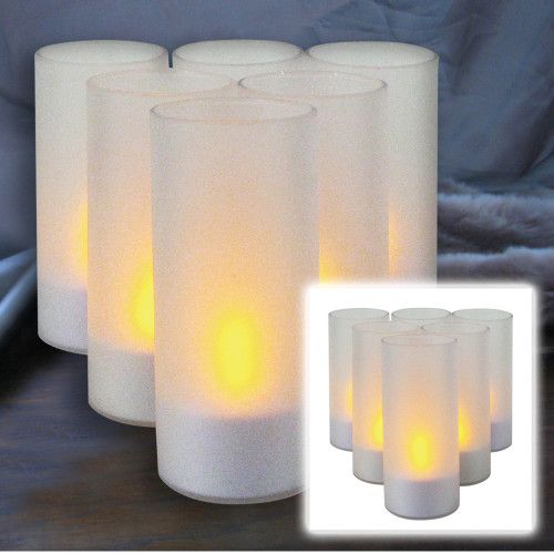 Pack of 6 Frosted Votive Cups with Flameless Tea Light Candles 4 - IMAGE 1
