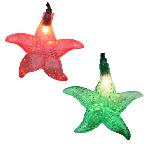 Set of 10 Tropical Beach Starfish Novelty Christmas Lights  11 ft  Green Wire - IMAGE 1