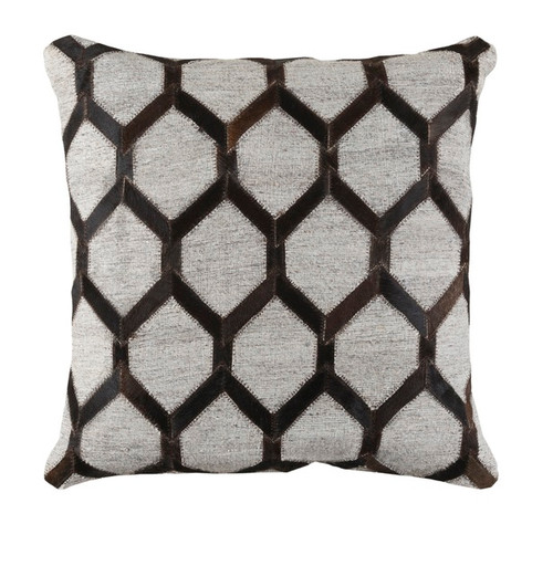 """18"""" Black and Gray Rustic Square Throw Pillow - Down Filler - IMAGE 1"""