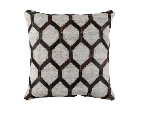 """20"""" Black and Gray Rustic Square Throw Pillow - Down Filler - IMAGE 1"""