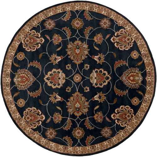 6' Navy Blue and Ivory Hand Tufted Wool Area Throw Rug - IMAGE 1