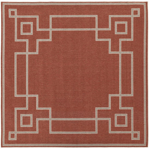 8.75' Crimson Red and Cream White Shed Free Square Outdoor Area Throw Rug - IMAGE 1