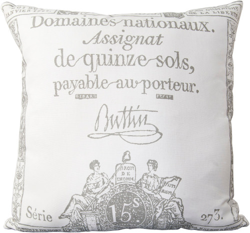 """22"""" White and Gray Printed Square Throw Pillow - Down Filler - IMAGE 1"""