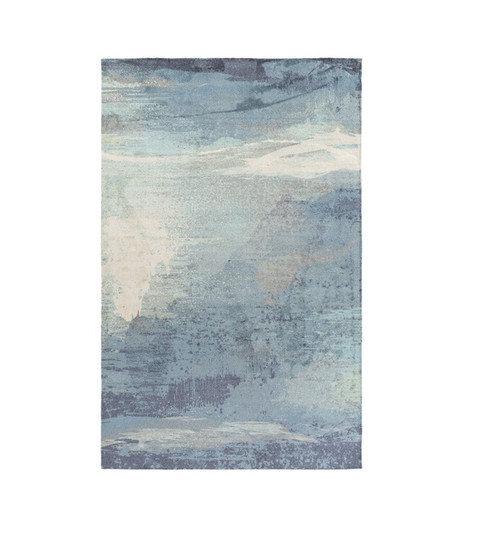 2' x 3' Lulled Watercolor Stormy Blue, Steely Gray, Cream and Beige Area Throw Rug - IMAGE 1