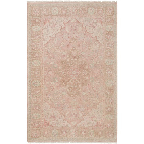 9' x 13' Beige and Salmon Pink New Zealand Wool Area Throw Rug - IMAGE 1