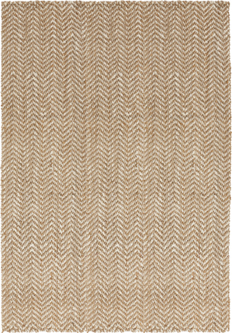 5' x 8' Chevron Beige and Ivory Hand Woven Rectangular Area Throw Rug - IMAGE 1