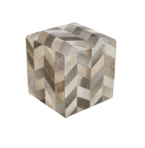 "18"" Light Gray, Mocha Brown and Ivory Multi Colored Arrows Leather Square Pouf Ottoman - IMAGE 1"