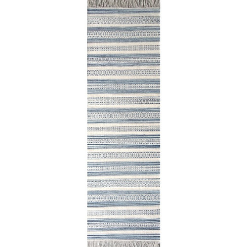 2.5' x 8' Contemporary Navy Blue and Alabaster White Wool Area Throw Rug Runner - IMAGE 1
