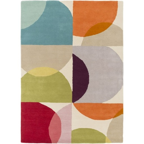 5' x 8' Burnt Orange and Teal Green Contemporary Hand Tufted Rectangular Wool Area Throw Rug - IMAGE 1