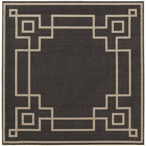 8.75' Charcoal Black and Cream White Shed Free Square Outdoor Area Throw Rug - IMAGE 1