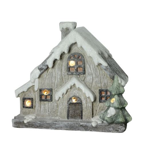 "14"" Gray and White Battery Operated LED Lighted Glittered House Christmas Tabletop Decor - IMAGE 1"