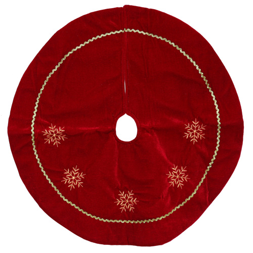 """24"""" Red Velvety Christmas Tree Skirt with White Embroidered Snowflakes - IMAGE 1"""