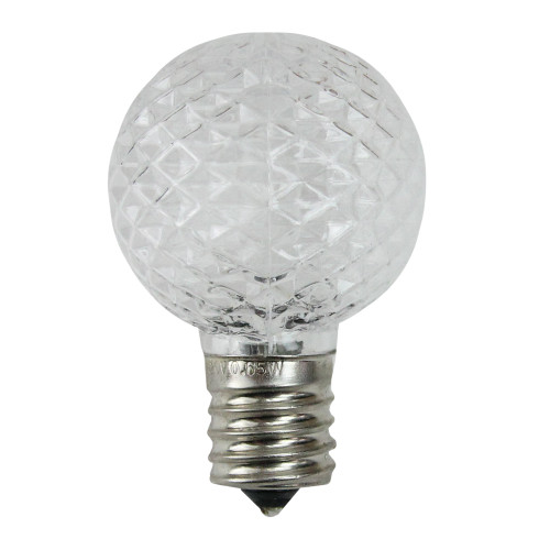 Pack of 25 Faceted LED G40 Clear Christmas Replacement Bulbs - IMAGE 1