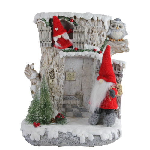 "17.5"" Red and Gray LED Lighted House with Plush Gnome Couple Christmas Decor - IMAGE 1"