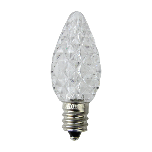 Pack of 25 Faceted LED C7 Pure White Christmas Replacement Bulbs - IMAGE 1