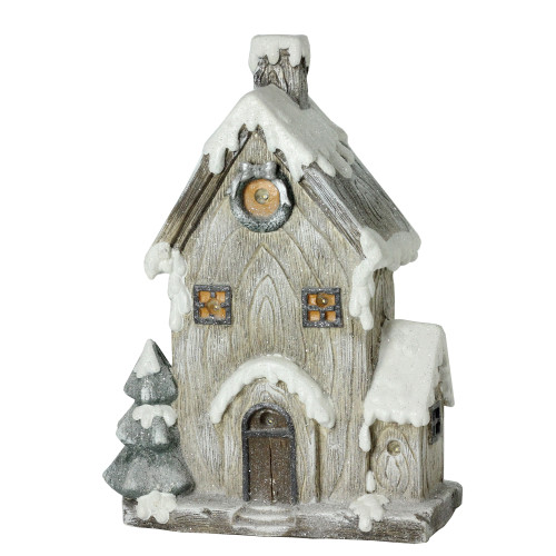 "19"" Gray and Brown LED Lighted Rustic House Christmas Decoration - IMAGE 1"
