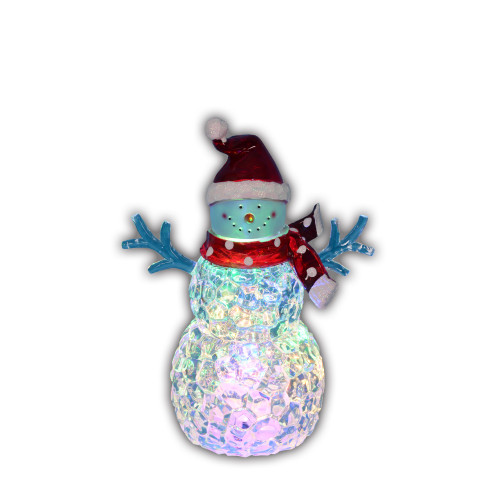 "8.5"" LED Lighted Snowman with Santa Hat Christmas Decoration - IMAGE 1"