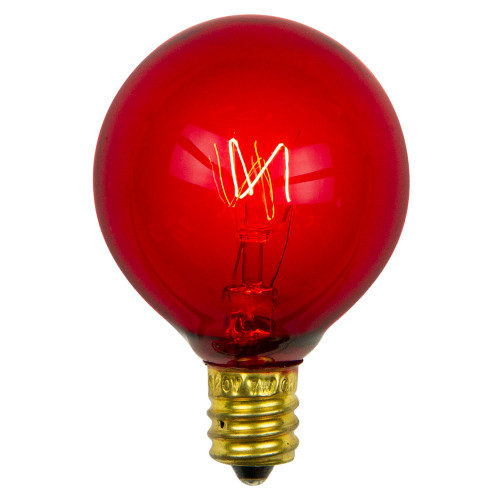 Pack of 25 Transparent G40 Red Christmas Replacement Bulbs - IMAGE 1
