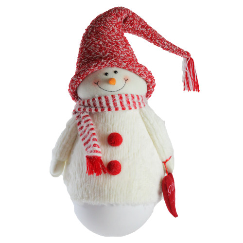 """37"""" Red and White Tumbling 'Sam the Snowman' Christmas Tabletop Figurine - IMAGE 1"""
