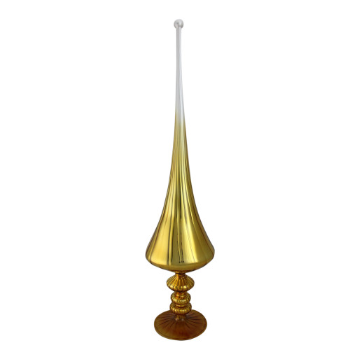 "22"" Silver and Gold Ombre Finial Glass Christmas Tabletop Decor - IMAGE 1"
