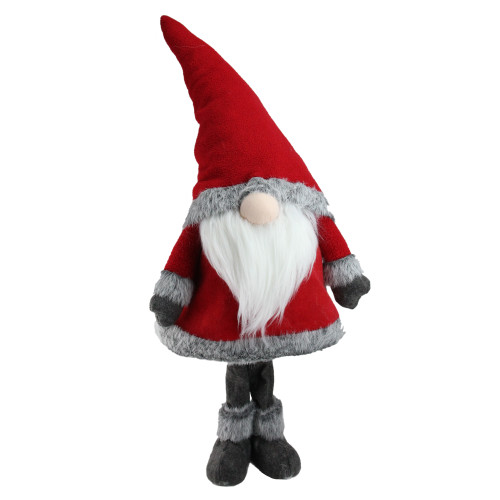"""28"""" Red Standing Christmas Santa Claus Gnome with Gray Faux Fur Trim - IMAGE 1"""