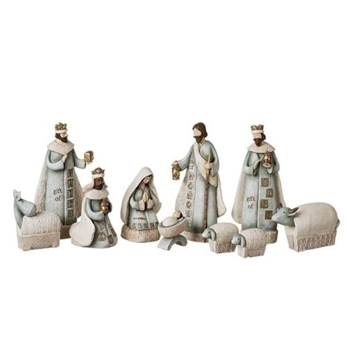 """10 Piece Set of 7.5"""" Religious Christmas Stamped Look Nativity Figure - IMAGE 1"""