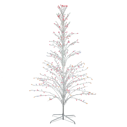 6' White Cascade Twig Tree Christmas Outdoor Decoration - Multi Lights - IMAGE 1