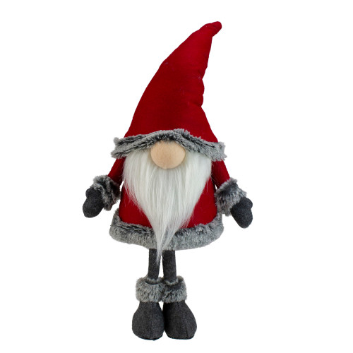 "19.5"" Red and Gray Standing Santa Gnome with Faux Fur Trim - IMAGE 1"