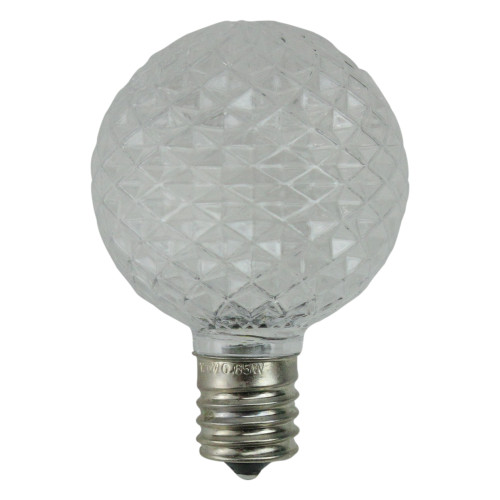 Pack of 25 Faceted LED G50 Clear Christmas Replacement Bulbs - IMAGE 1