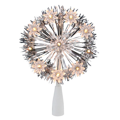 """7"""" Silver Pre-Lit Snowflake Starburst Christmas Tree Topper - Clear Lights - IMAGE 1"""