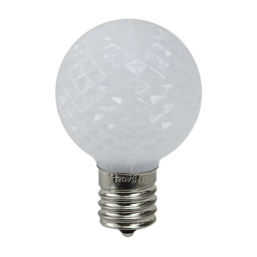 Pack of 25 Faceted LED G40 Pure White Christmas Replacement Bulbs - IMAGE 1