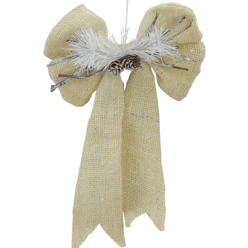 """15"""" Ivory and White Bow with Pine Cone Hanging Christmas Decor - IMAGE 1"""