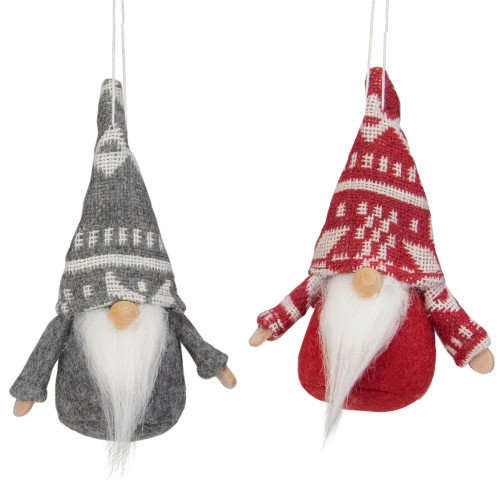 "Set of 2 Gray and Red Santa Gnomes Hanging Christmas Ornaments 4"" - IMAGE 1"
