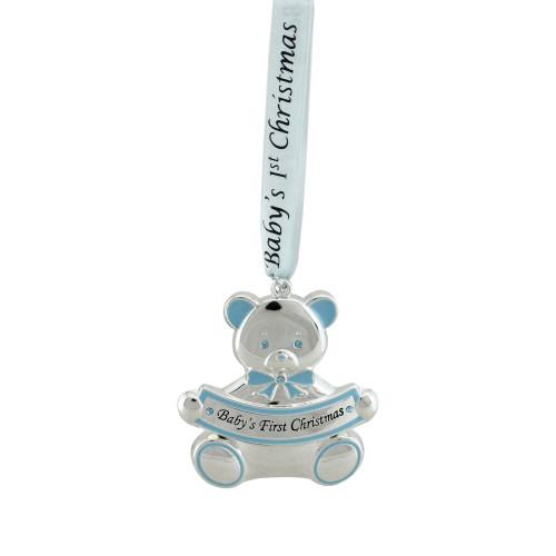 "3"" Blue and Silver Teddy Bear Christmas Ornament - IMAGE 1"
