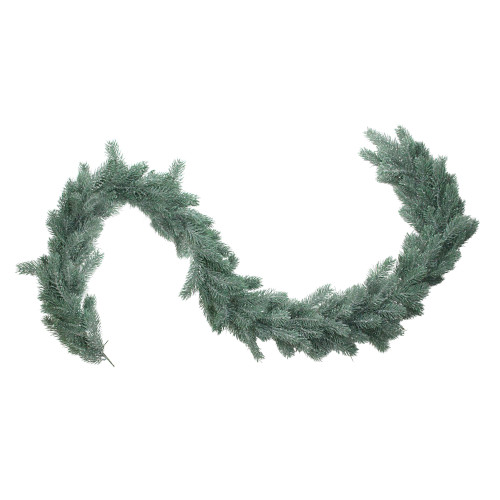 """76"""" x 7"""" Frosted and Dusted Green Pine Artificial Christmas Garland - Unlit - IMAGE 1"""