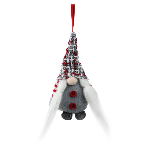 "6"" Gray and Red Plaid Santa's Helper Gnome Hat Christmas Ornament - IMAGE 1"
