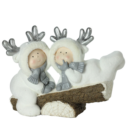 """18.5"""" White Winter Christmas Smiling Children on Seesaw Tabletop Decoration - IMAGE 1"""